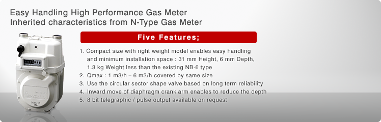 Easy Handling High Performance Gas Meter Inherited characteristics from N-Type Gas Meter
